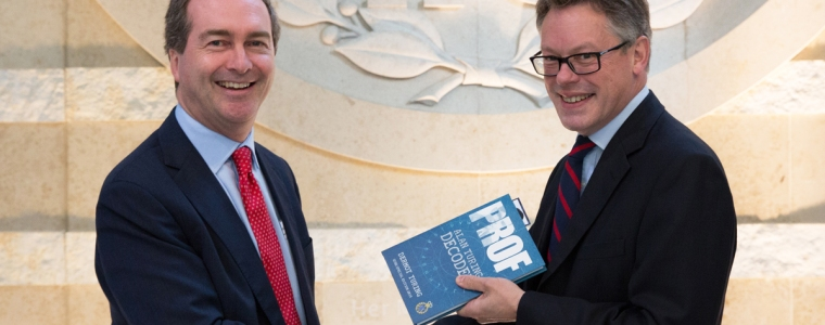 Sir Dermot Turing with Robert Hannigan, Director GCHQ, at launch of Alan Turing biography