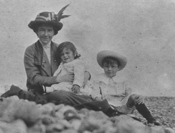 Alan Turing with his mother and brother on a beach on the South Coast of England 1913