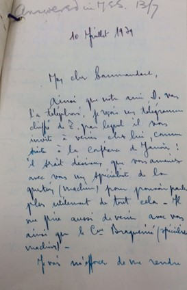 Letter from Gustav Bertrand about handover of information from Polish codebreakers