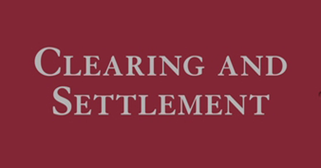 Clearing and settlement cover showing title of book