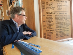 Dermot finds his name on the honours board at Sherborne School