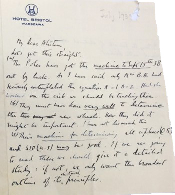 Letter from Dilly Knox about the handover of information from the Polish codebreakers