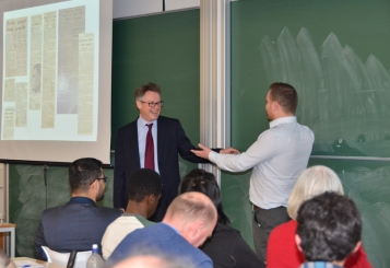 Dermot Turing presenting at the University of Manchester December 2015