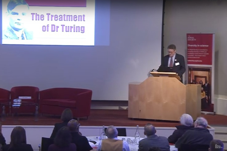 Dermot Turing speaking at the Royal Society, February 2017