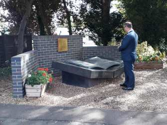 Dr Arkady Rzegocki at the memorial to the Polish codebreakers at Bletchley Park