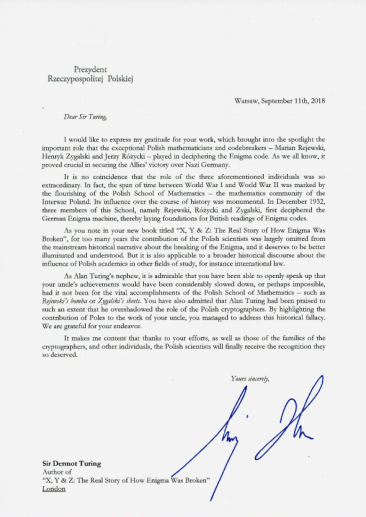 Letter from Polish President Andrzej Duda to Sir Dermot Turing