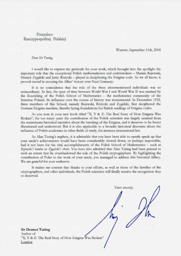 letter from polish president andrzej duda to sir dermot turing