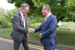 Sir Dermot Turing welcomes His Excellency Dr Arkady Rzegocki to Bletchley Park