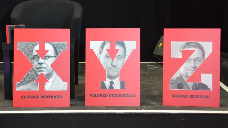 X,Y and Z with images of Bertrand, Dunderdale and Rejewski as background