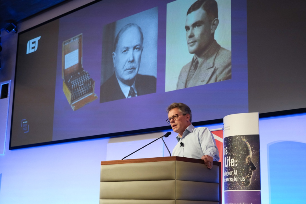Dermot Turing speaking at IET, October 2018