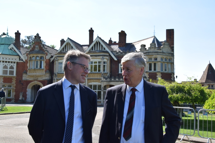 Dermot Turing with Kenneth Flowers at Bletchley Park