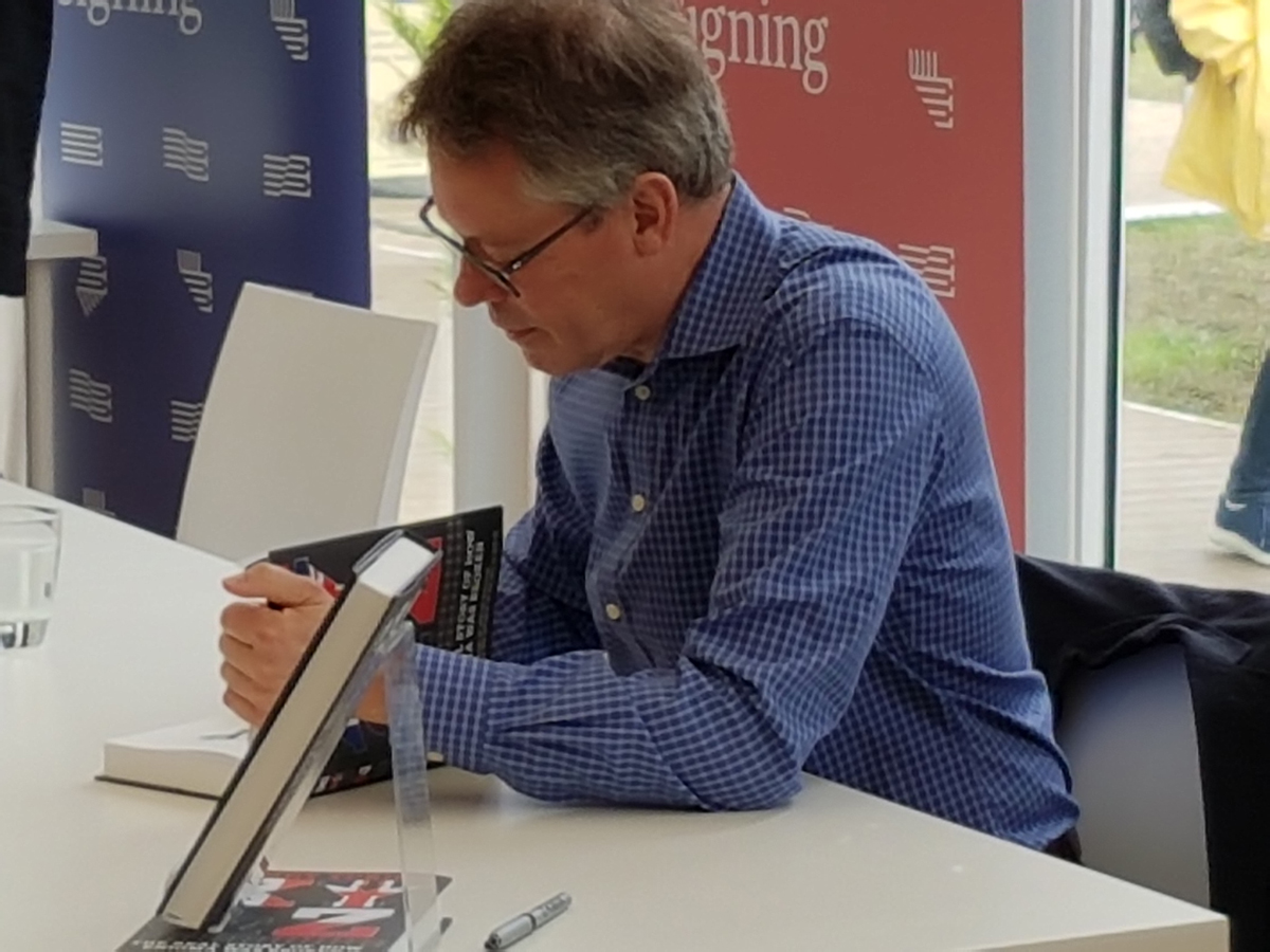 Dermot Turing at book signing in Edinburgh
