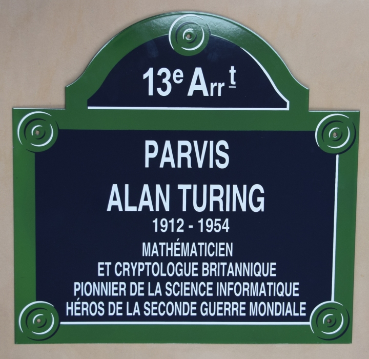 Plaque for the Parvis Alan Turing, Paris