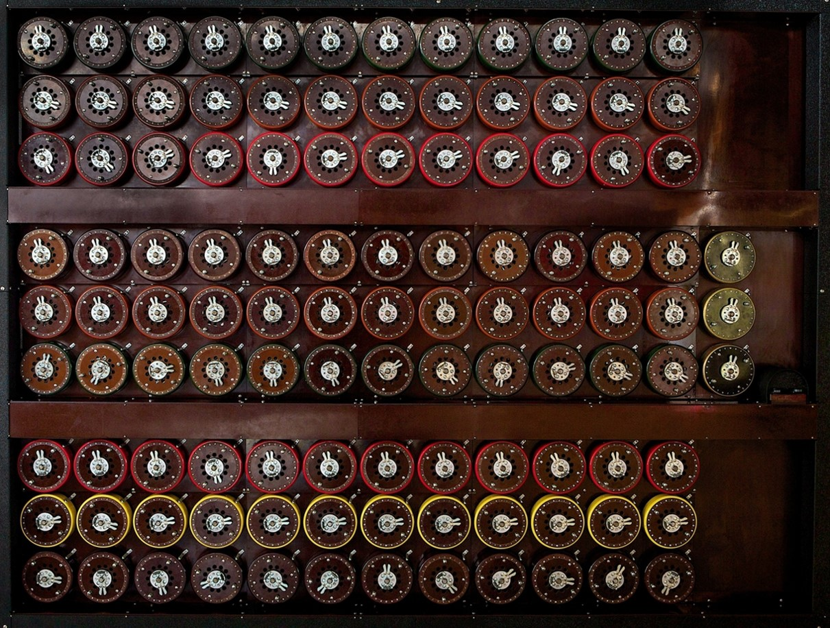 The replica Bombe on display at The National Museum of Computing