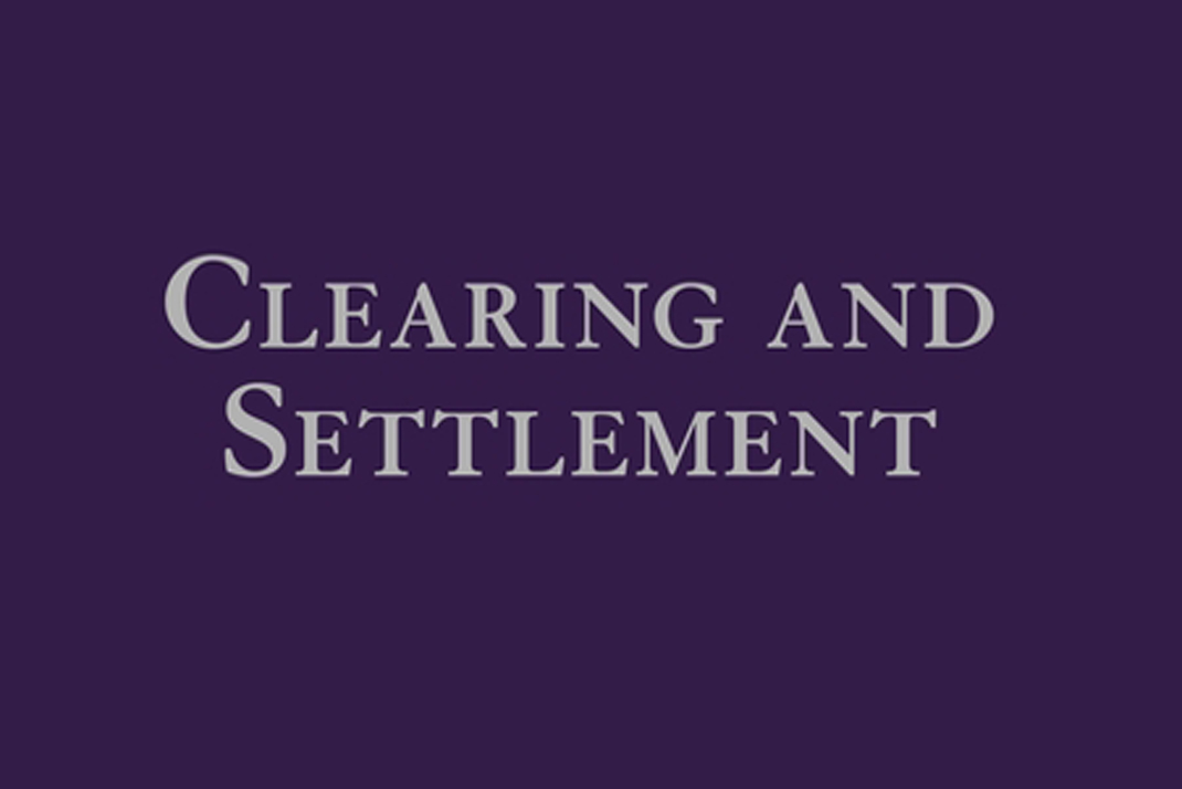 Clearing and Settlement title on cover