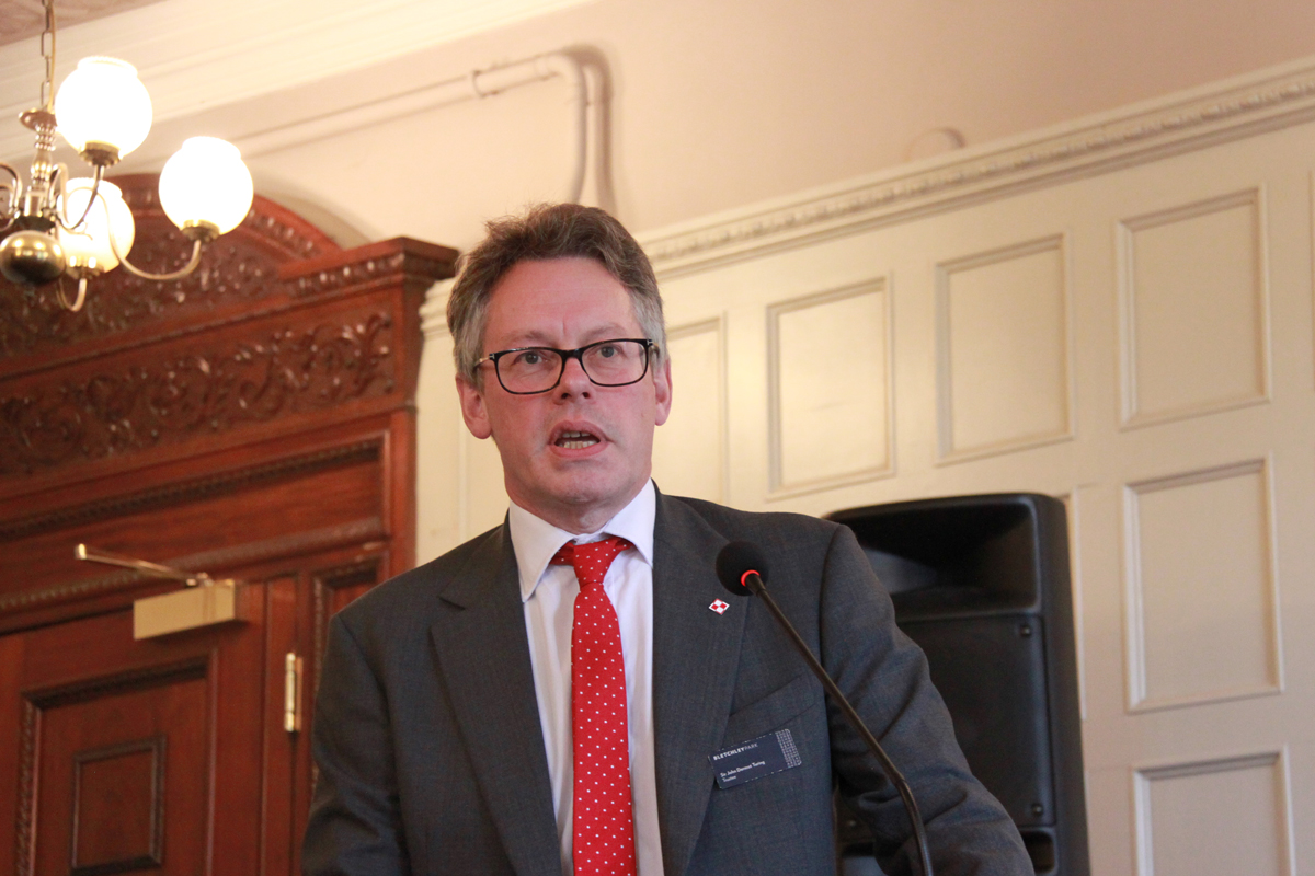 Dermot Turing speaking at Bletchley Park