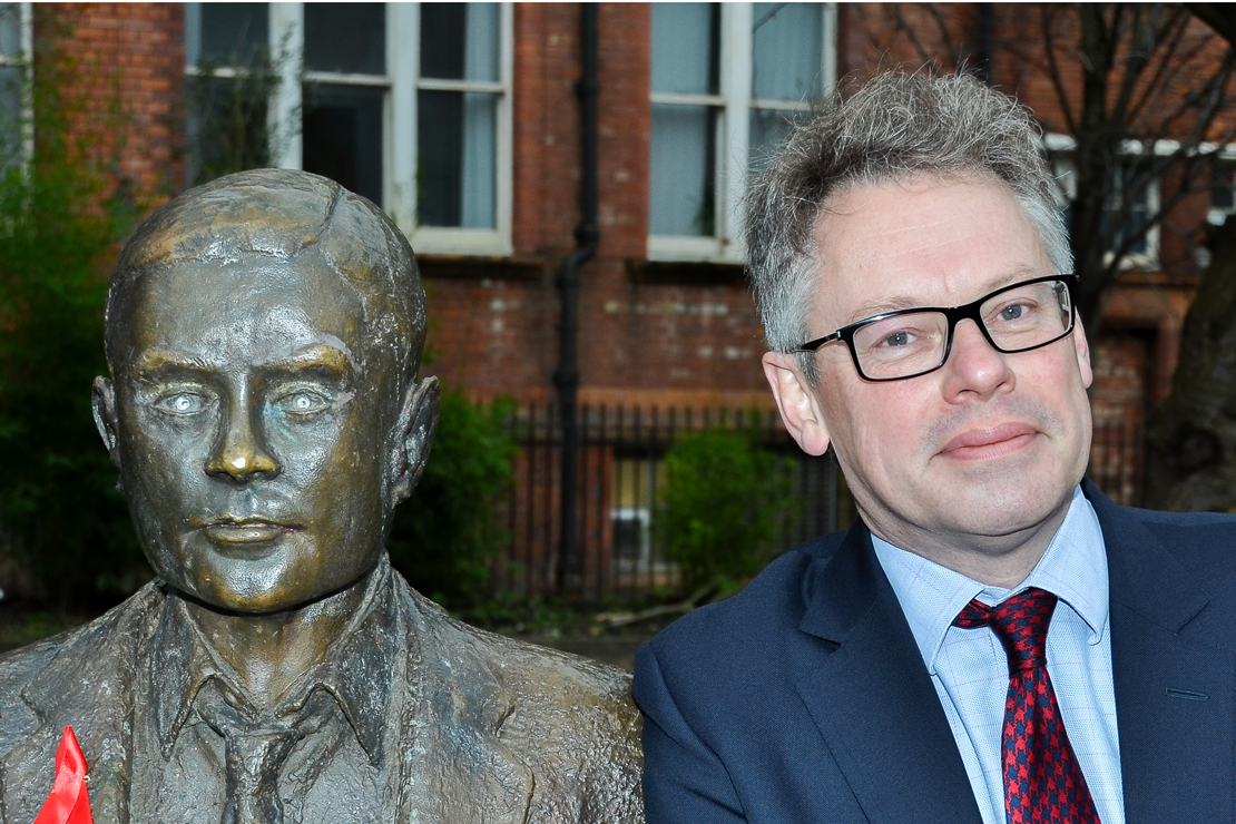 Dermot Turing with Alan Turing memorial statue in Manchester