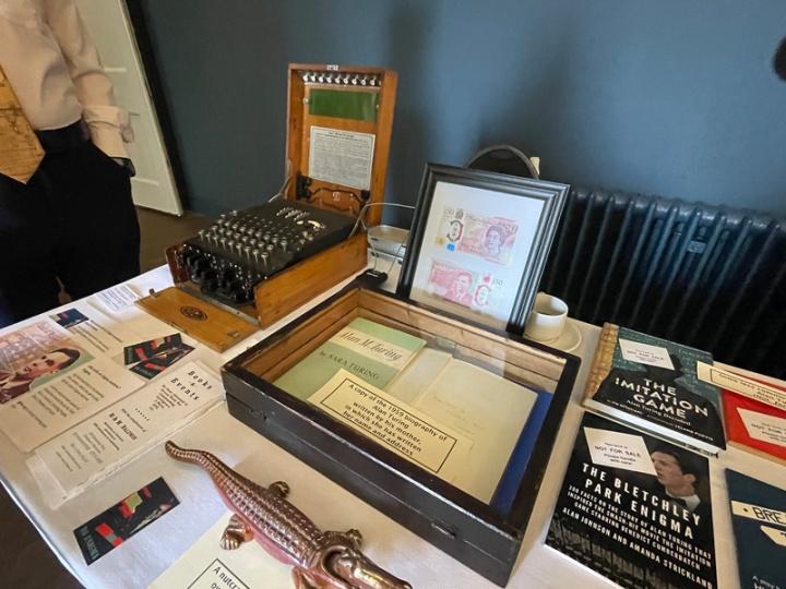 Mark Baldwin's exhibition including and Enigma machine